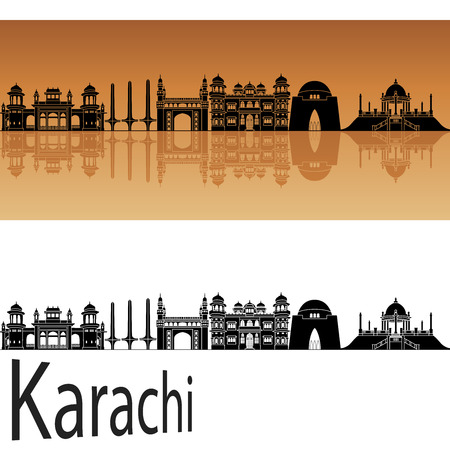 karachi: Karachi skyline in orange background in editable vector file Illustration