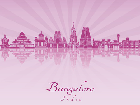 radiant: Bangalore skyline in purple radiant orchid in editable vector file
