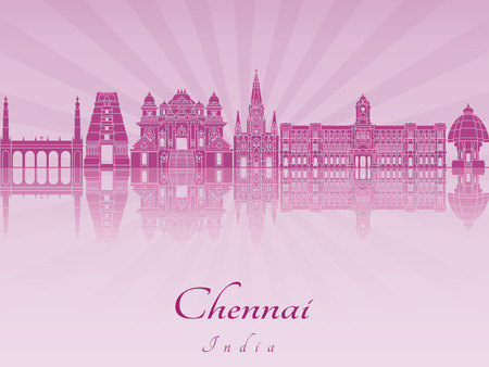 radiant: Chennai skyline in purple radiant orchid in editable vector file Illustration
