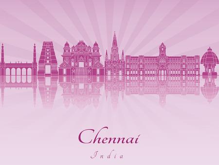 Chennai skyline in purple radiant orchid in editable vector file Illustration