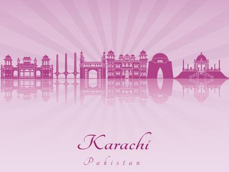 karachi: Karachi skyline in purple radiant orchid in editable vector file