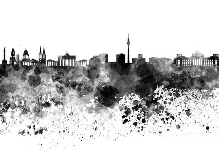 berlin: Berlin skyline in black watercolor Stock Photo