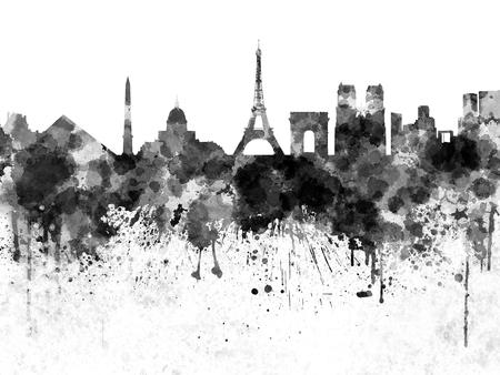 paris skyline: Paris skyline in black watercolor