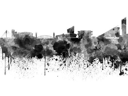 Manchester skyline in black watercolor