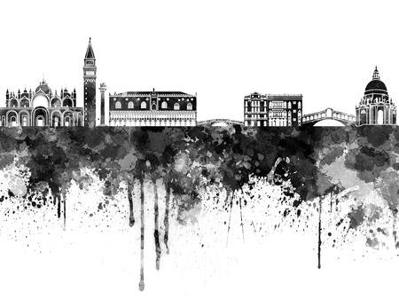 Venice skyline in black watercolor