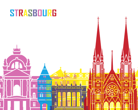 strasbourg: Strasbourg skyline pop in editable vector file