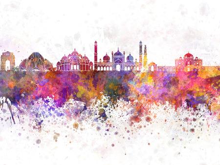Delhi skyline in watercolor background Standard-Bild