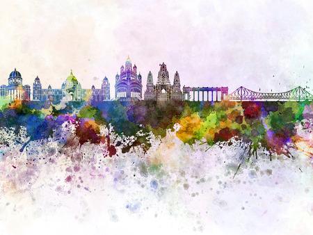 水彩画背景でコルカタ スカイライン 写真素材