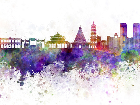 china watercolor paint: Zhongshan skyline in watercolor background Stock Photo