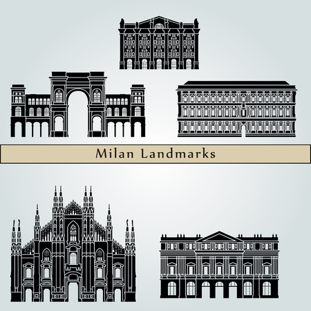 Milan landmarks and monuments isolated on blue background in editable vector file