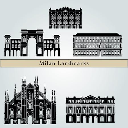 milánó: Milan tereptárgyak és műemlékek elszigetelt kék háttér szerkeszthető vektoros fájl
