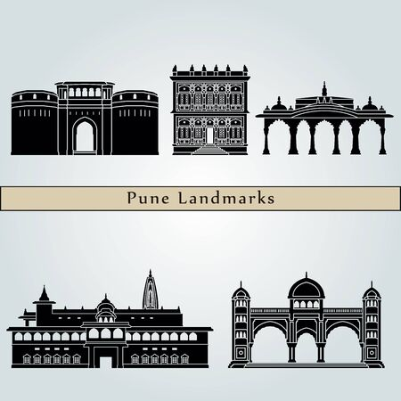 pune: Pune landmarks and monuments isolated on blue background in editable vector file