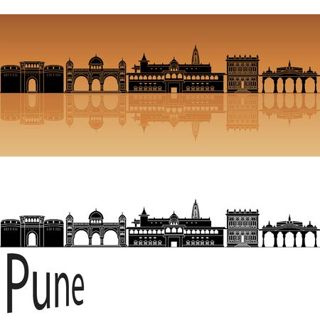 Pune skyline in orange background in editable vector file