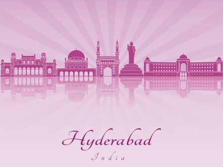 radiant: Hyderabad skyline in purple radiant orchid in editable vector file