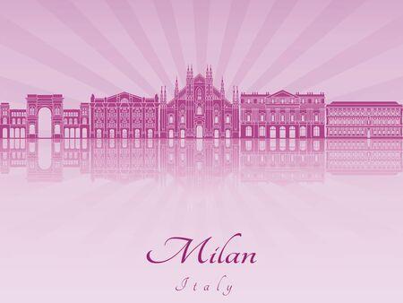 Milan skyline in purple radiant orchid in editable vector file