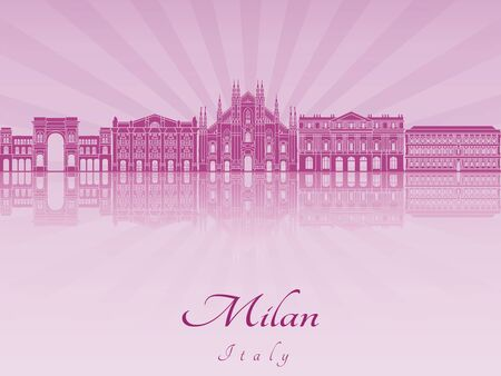 milánó: Milan városkép lila sugárzó orchidea szerkeszthető vektoros fájl