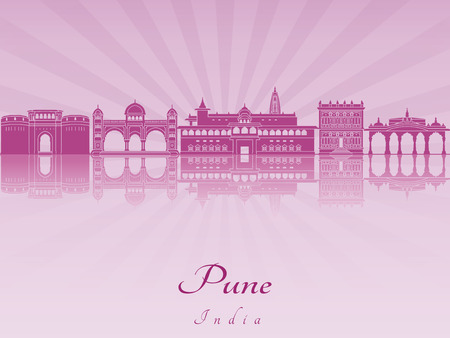 pune: Pune skyline in purple radiant orchid in editable vector file