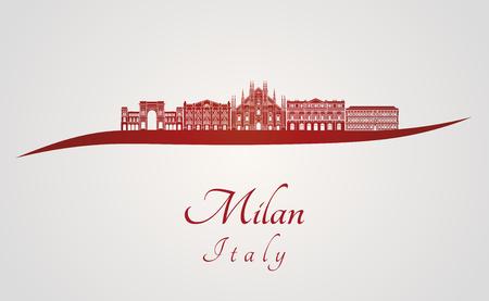편집 가능한 벡터 파일 빨간색과 회색 배경에 밀라노의 스카이 라인