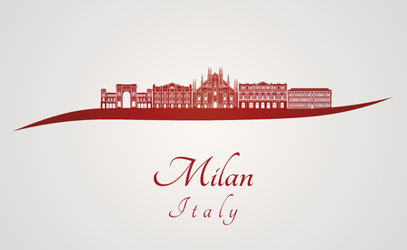 Milan skyline in red and gray background in editable vector file