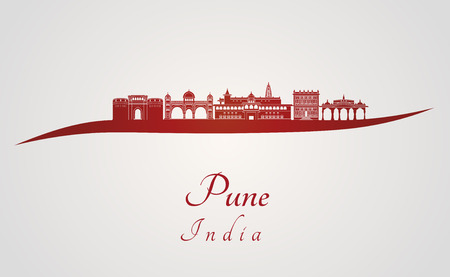 Pune skyline in red and gray background in editable vector file Ilustração