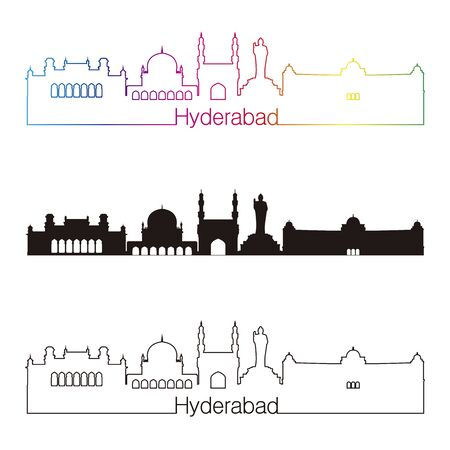 Hyderabad skyline linear style with rainbow in editable vector file Vetores