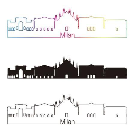 milánó: Milan Skyline lineáris stílusban szivárvány szerkeszthető vektoros fájl