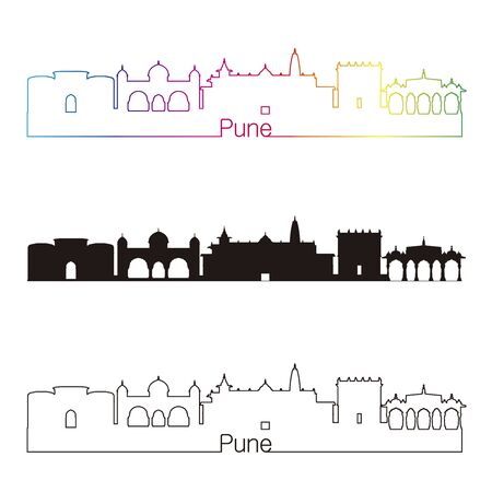 pune: Pune skyline linear style with rainbow in editable vector file