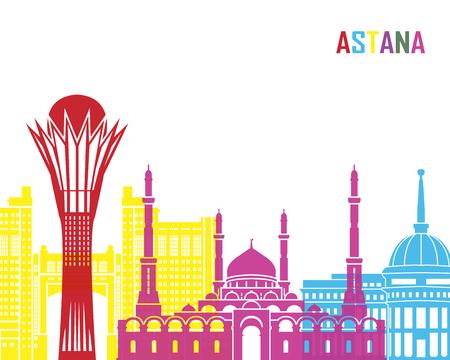 astana: Astana skyline pop in editable vector file