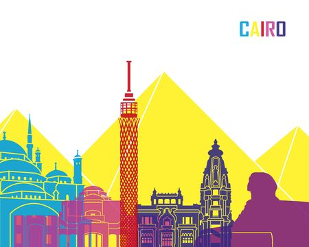 egypt: Cairo skyline pop in editable vector file Illustration
