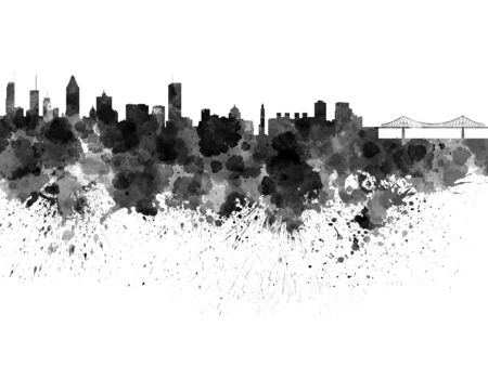 montreal: Montreal skyline in watercolor on white background