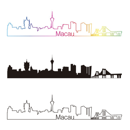 Macau skyline linear style with rainbow in editable vector file