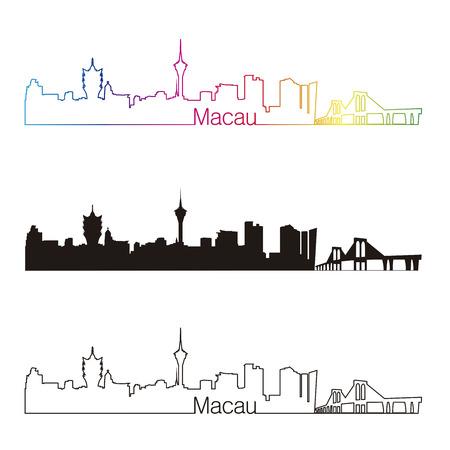 Macau skyline linear style with rainbow in editable vector file