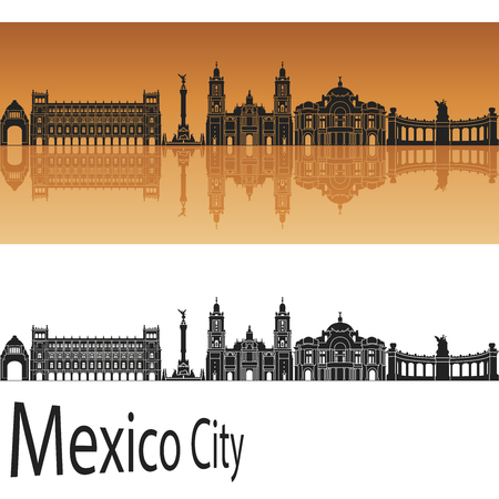 city background: Mexico City V2 skyline in orange background in editable vector file Illustration