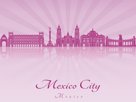 skyline city: Mexico City skyline in purple radiant orchid in editable vector file