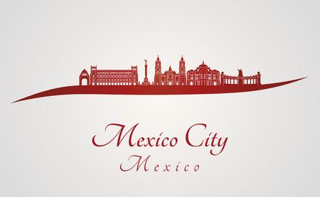 編集可能なベクトル ファイルの赤と灰色の背景でメキシコ シティ スカイライン