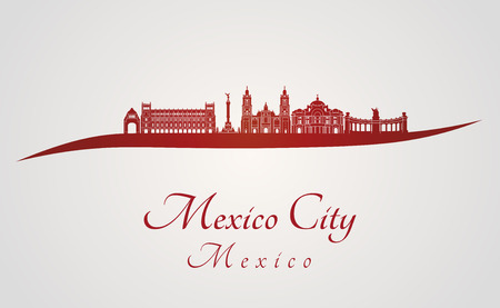 Mexico City skyline in red and gray background in editable vector file