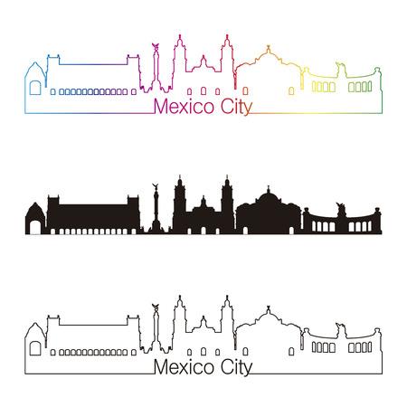 編集可能なベクトル ファイルで虹とメキシコ シティ スカイライン線形スタイル  イラスト・ベクター素材