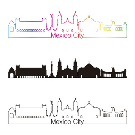 Mexico City skyline linear style with rainbow in editable vector file