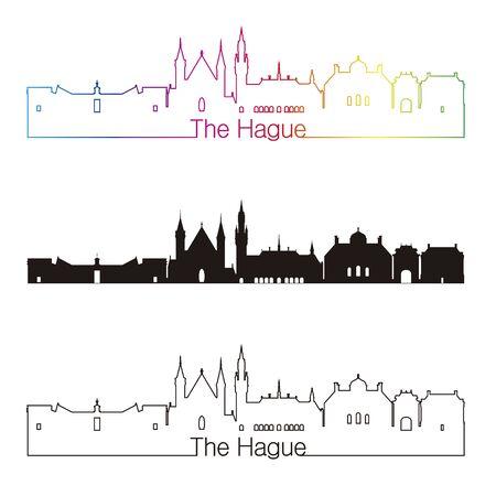 netherlands: The Hague skyline linear style with rainbow in editable vector file Illustration