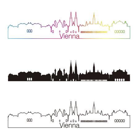 Style linéaire de Vienne skyline avec arc-en-ciel en fichier vectoriel éditable