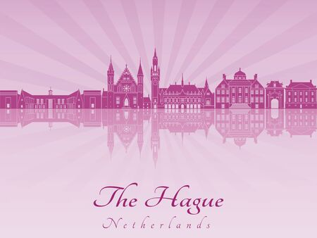 netherlands: The Hague skyline in purple radiant orchid in editable vector file Illustration
