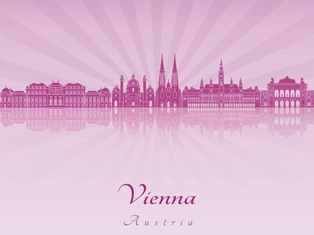 austria: Vienna skyline in purple radiant orchid in editable vector file