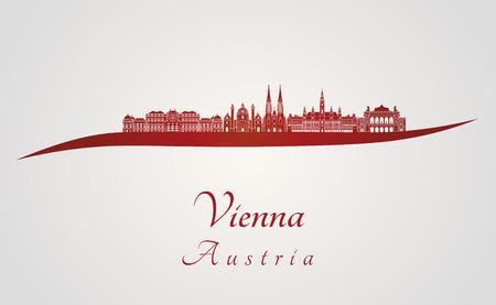 편집 가능한 벡터 파일 빨간색과 회색 배경에 비엔나의 스카이 라인