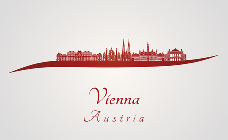 Vienna skyline in red and gray background in editable vector file