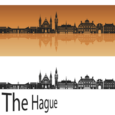 The Hague skyline in orange background in editable vector file