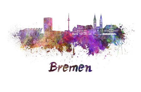 bremen: Bremen skyline in watercolor splatters with clipping path