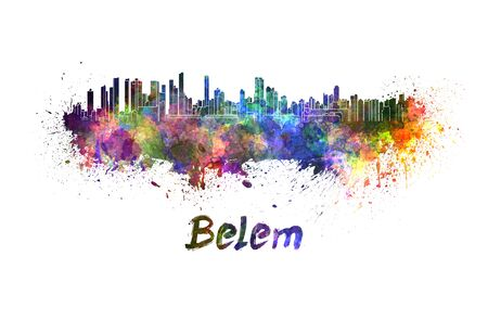 belem: Belem skyline in watercolor splatters with clipping path Stock Photo
