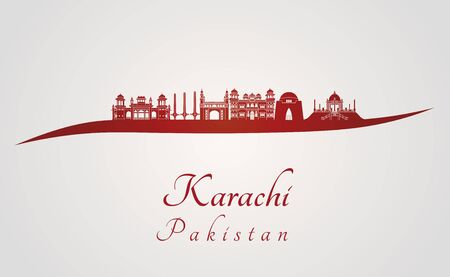 karachi: Karachi skyline in red and gray background