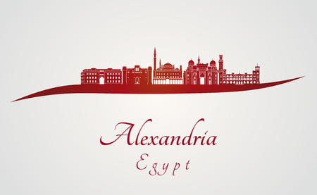 alexandria egypt: Alexandria skyline in red and gray background