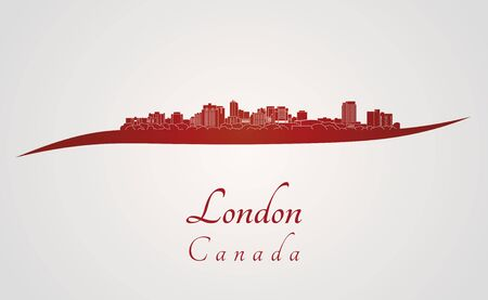 ontario: London skyline in red and gray background in editable vector file
